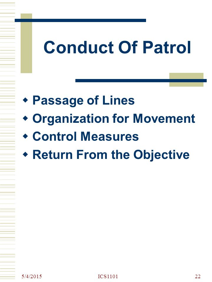 Conduct Of Patrol Passage of Lines Organization for Movement