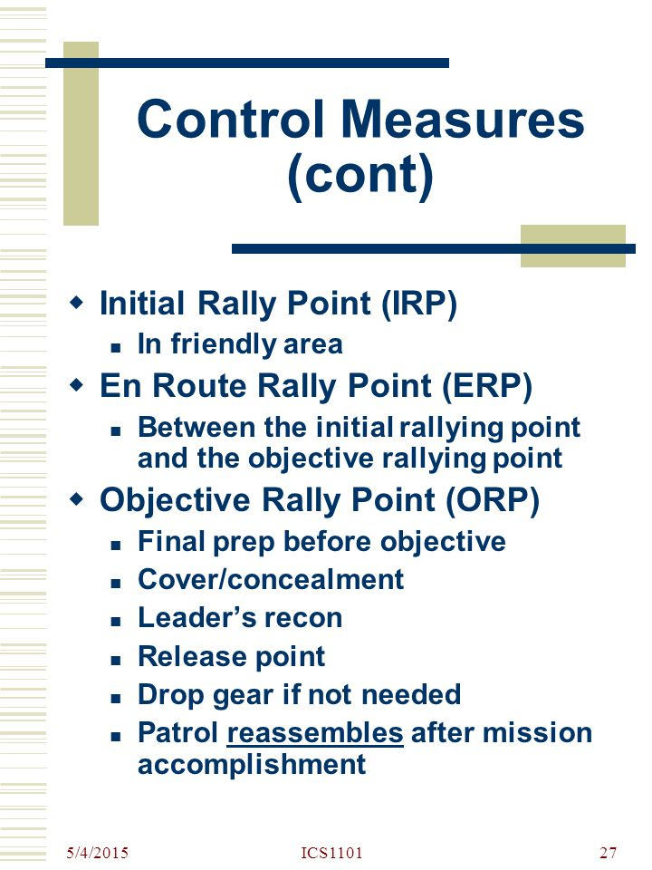 Control Measures (cont)