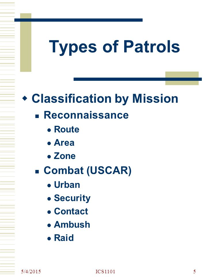 Types of Patrols Classification by Mission Reconnaissance