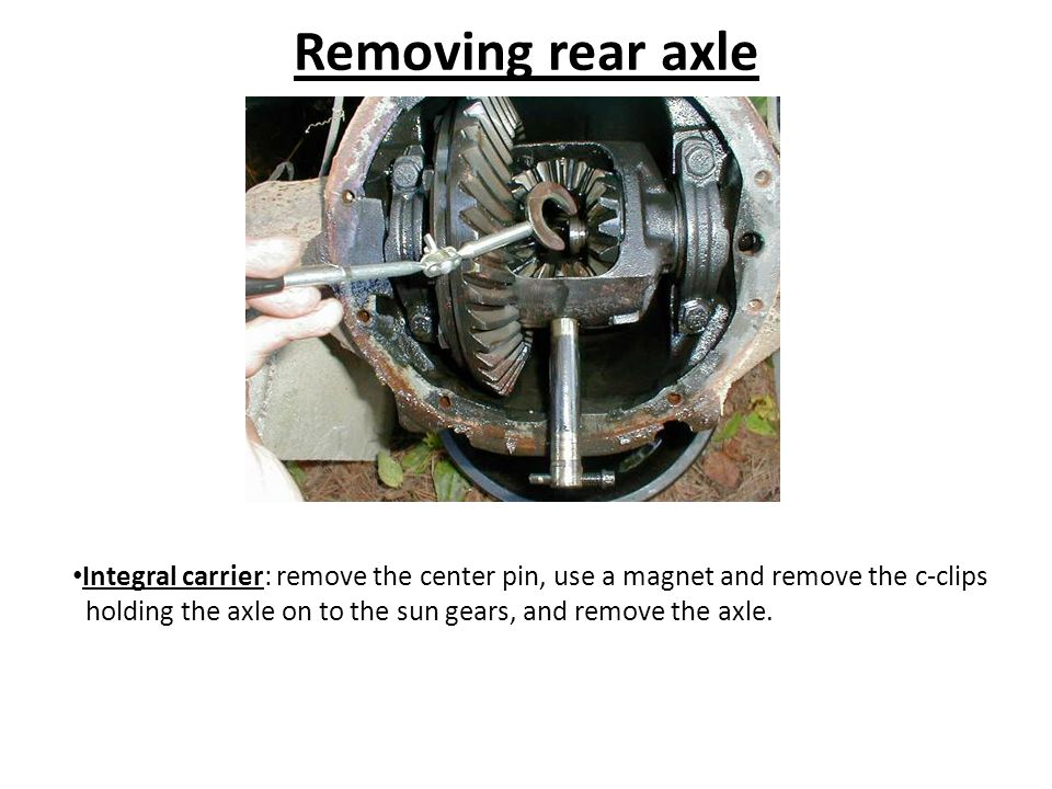 Removing rear axle Integral carrier: remove the center pin, use a magnet and remove the c-clips.