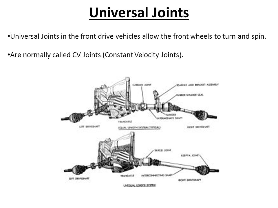 Universal Joints Universal Joints in the front drive vehicles allow the front wheels to turn and spin.
