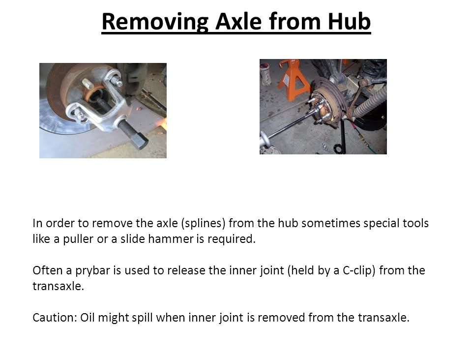 Removing Axle from Hub In order to remove the axle (splines) from the hub sometimes special tools like a puller or a slide hammer is required.