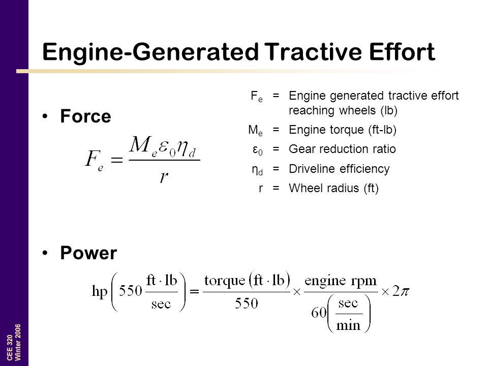 Engine-Generated Tractive Effort