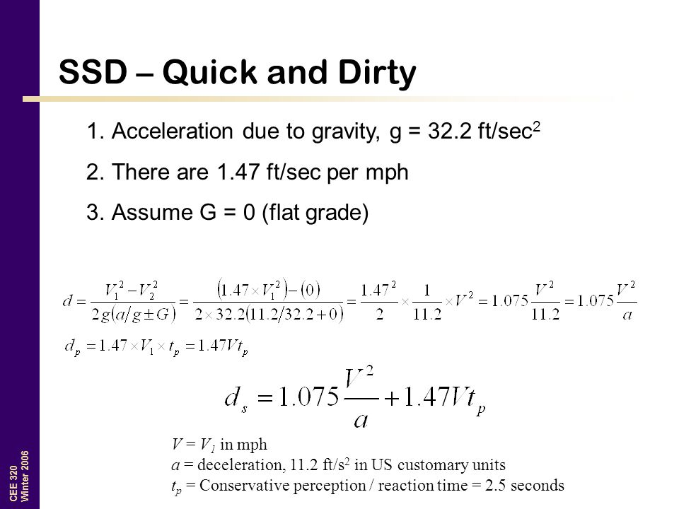 SSD – Quick and Dirty Acceleration due to gravity, g = 32.2 ft/sec2