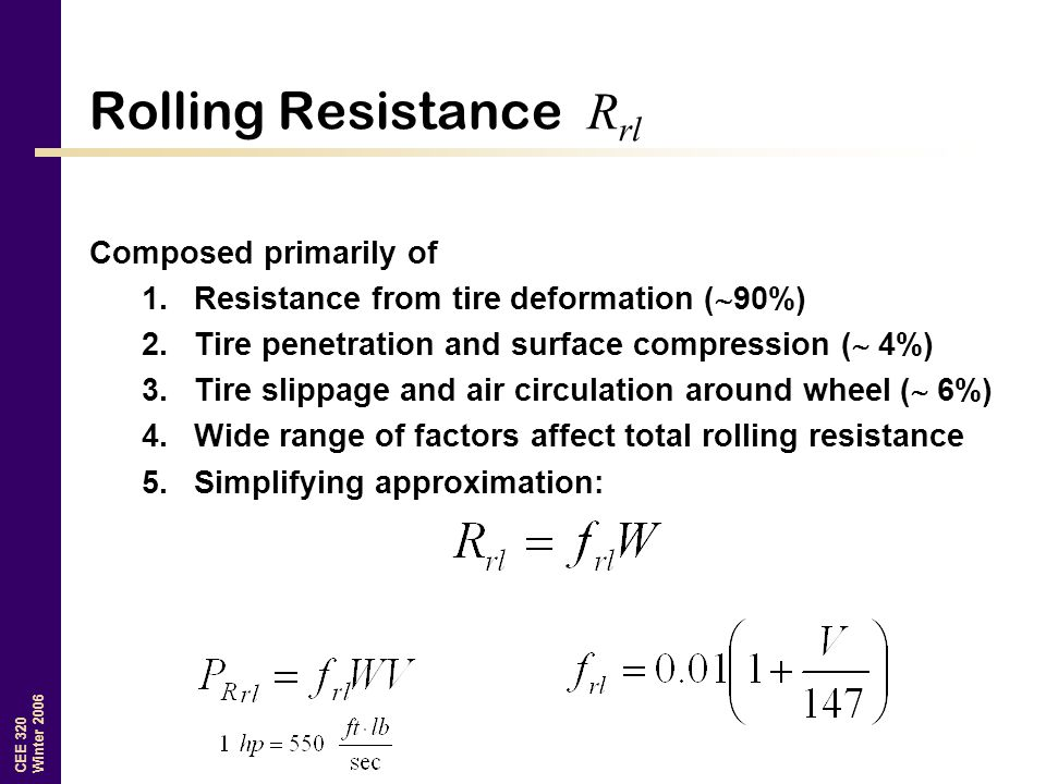 Tire penetration and rolling resistance