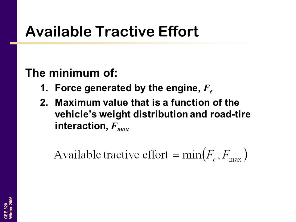 Available Tractive Effort