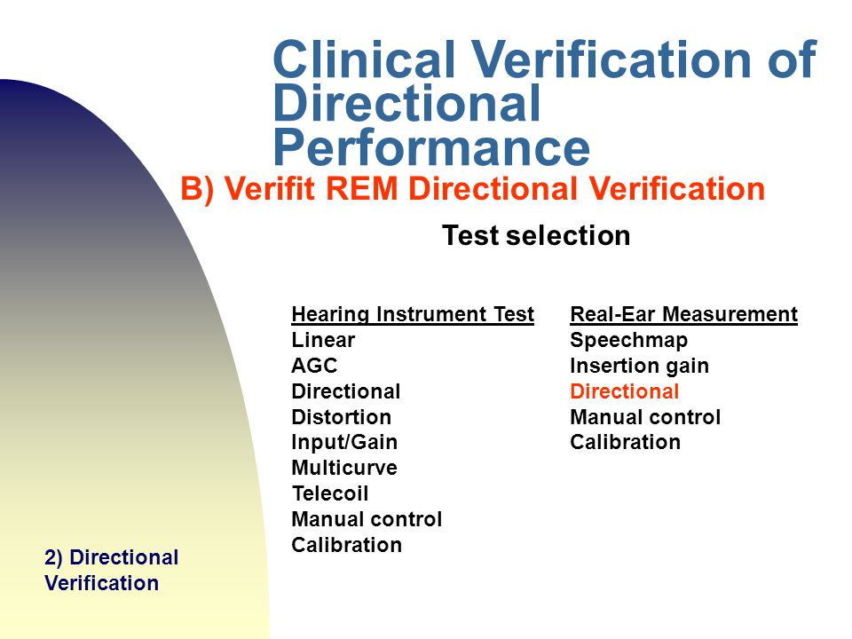 Clinical Verification of Directional Performance
