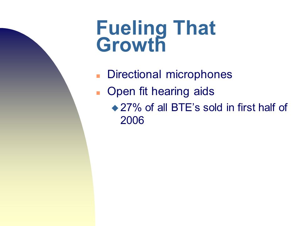 Fueling That Growth Directional microphones Open fit hearing aids