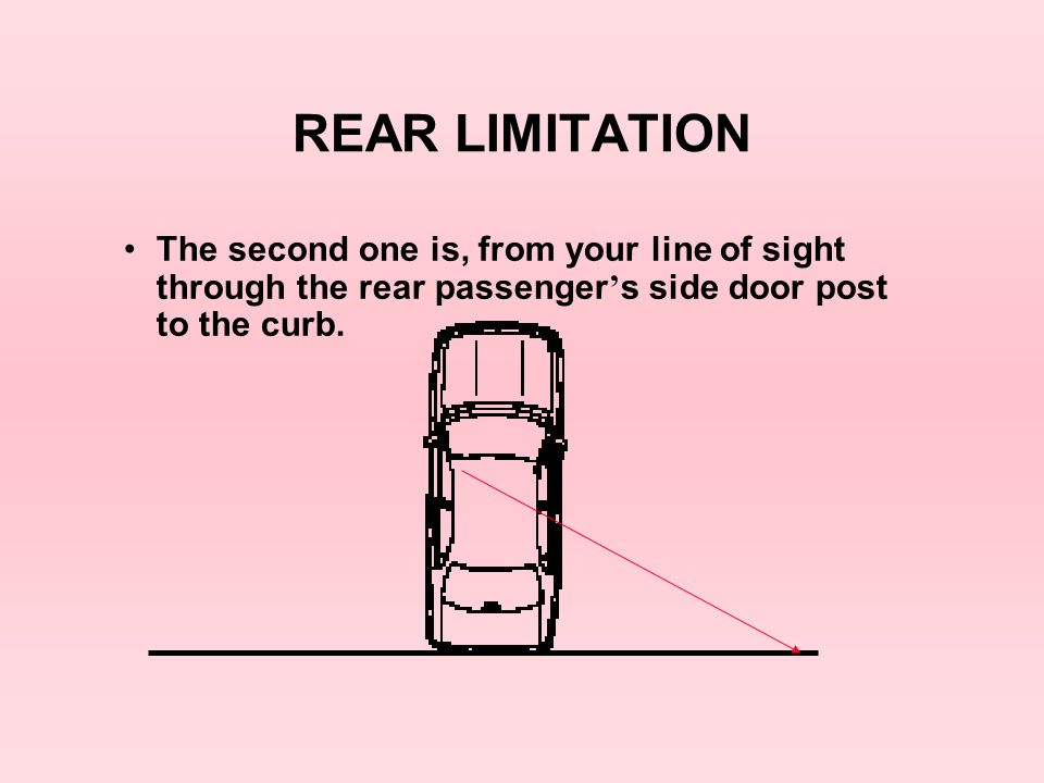 REAR LIMITATION The second one is, from your line of sight through the rear passenger's side door post to the curb.