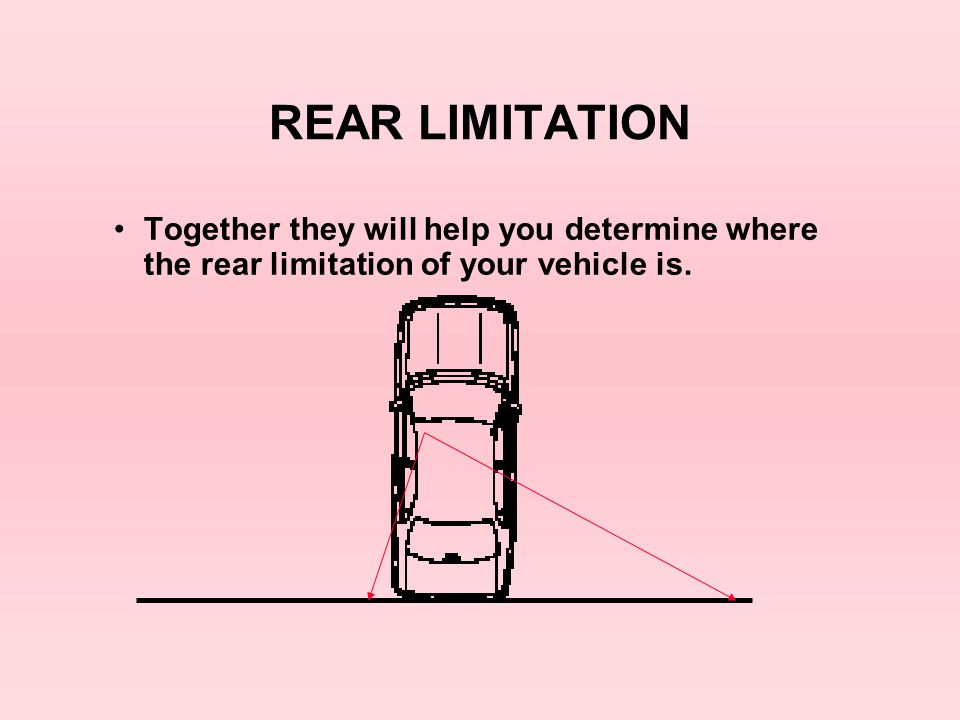 REAR LIMITATION Together they will help you determine where the rear limitation of your vehicle is.