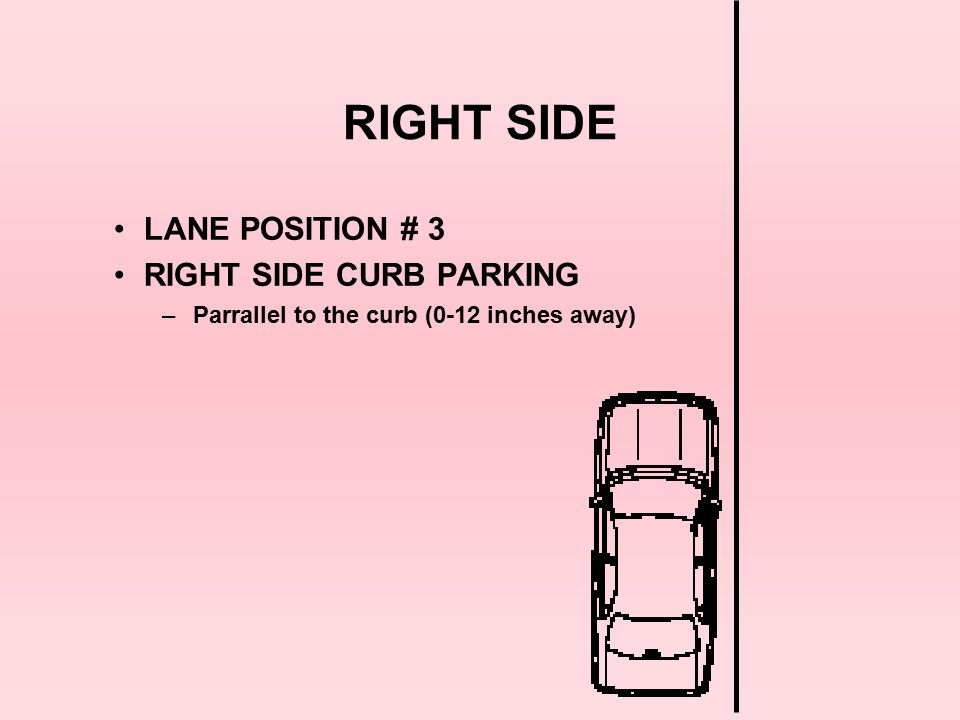 RIGHT SIDE LANE POSITION # 3 RIGHT SIDE CURB PARKING
