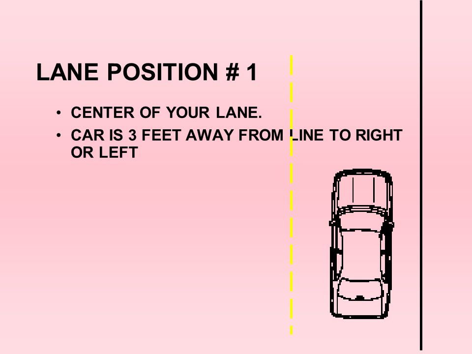 LANE POSITION # 1 CENTER OF YOUR LANE.