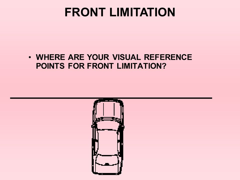 FRONT LIMITATION WHERE ARE YOUR VISUAL REFERENCE POINTS FOR FRONT LIMITATION 3