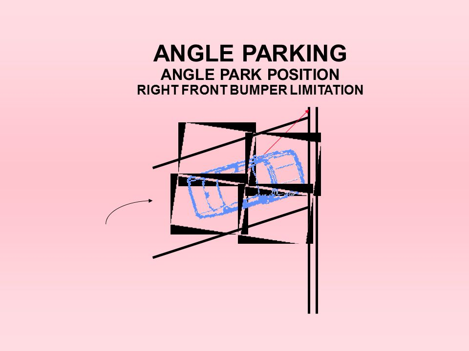 ANGLE PARKING ANGLE PARK POSITION RIGHT FRONT BUMPER LIMITATION