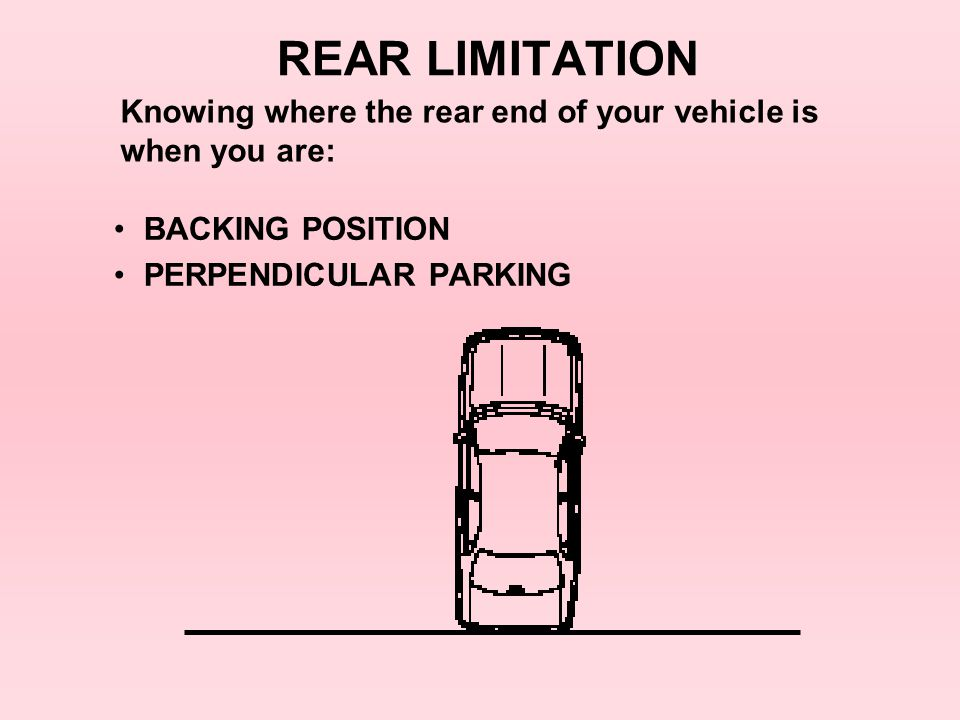 REAR LIMITATION Knowing where the rear end of your vehicle is