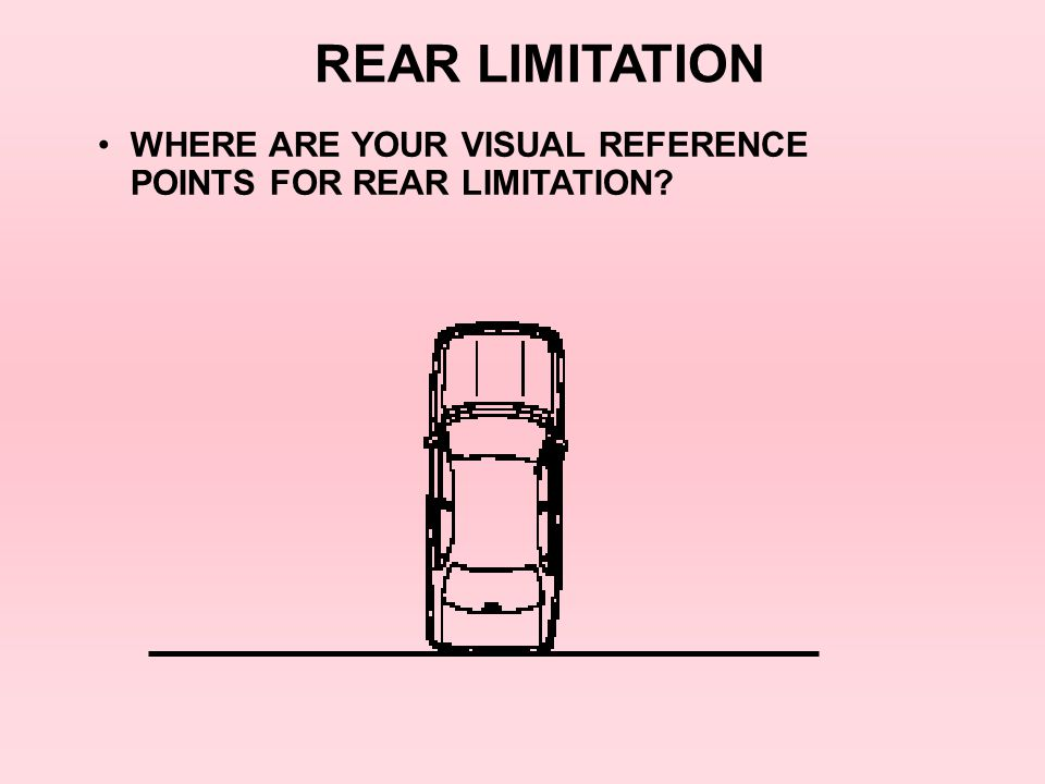 REAR LIMITATION WHERE ARE YOUR VISUAL REFERENCE POINTS FOR REAR LIMITATION 8