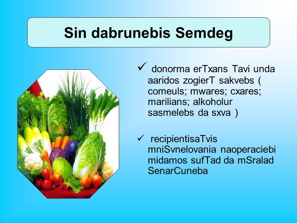 Sin dabrunebis Semdeg donorma erTxans Tavi unda aaridos zogierT sakvebs ( comeuls; mwares; cxares; marilians; alkoholur sasmelebs da sxva )