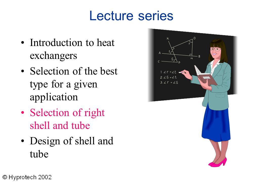Lecture series Introduction to heat exchangers