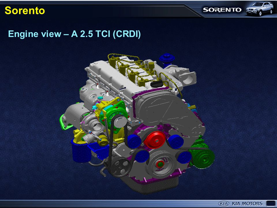 Sorento Engine view – A 2.5 TCI (CRDI) BL-10 ~12 Engine view