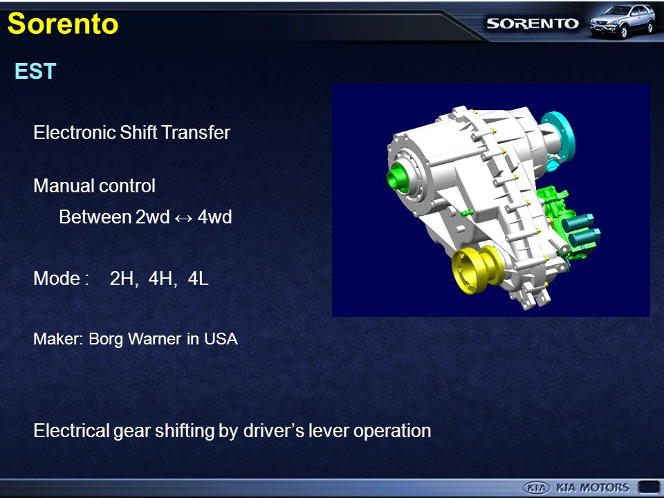 Sorento EST Electronic Shift Transfer Manual control Between 2wd ↔ 4wd