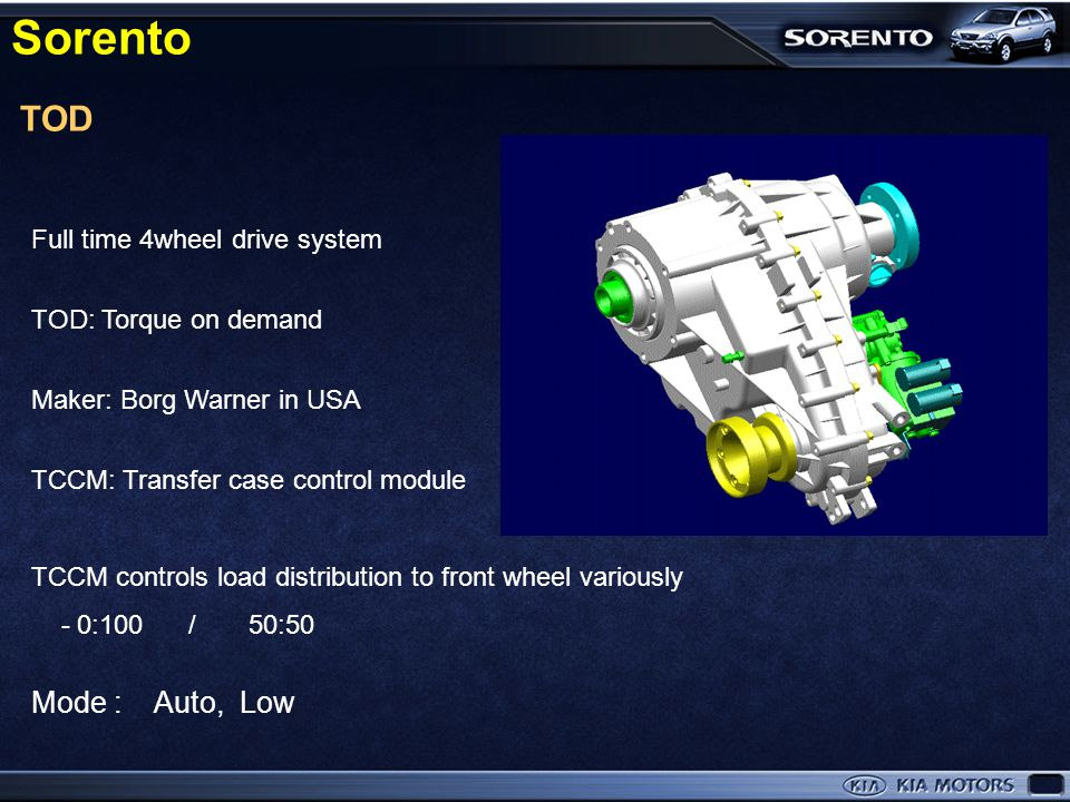 Sorento TOD Mode : Auto, Low Full time 4wheel drive system