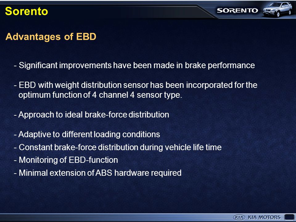 Sorento Advantages of EBD