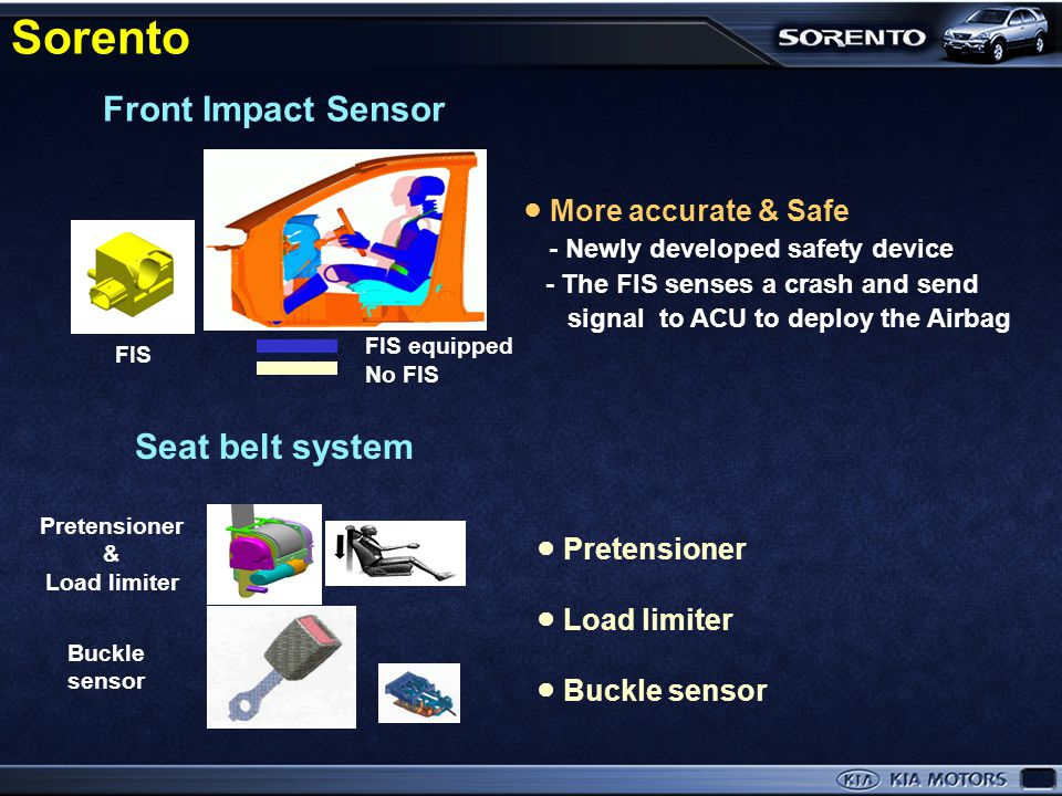 Sorento Front Impact Sensor Seat belt system ● More accurate & Safe