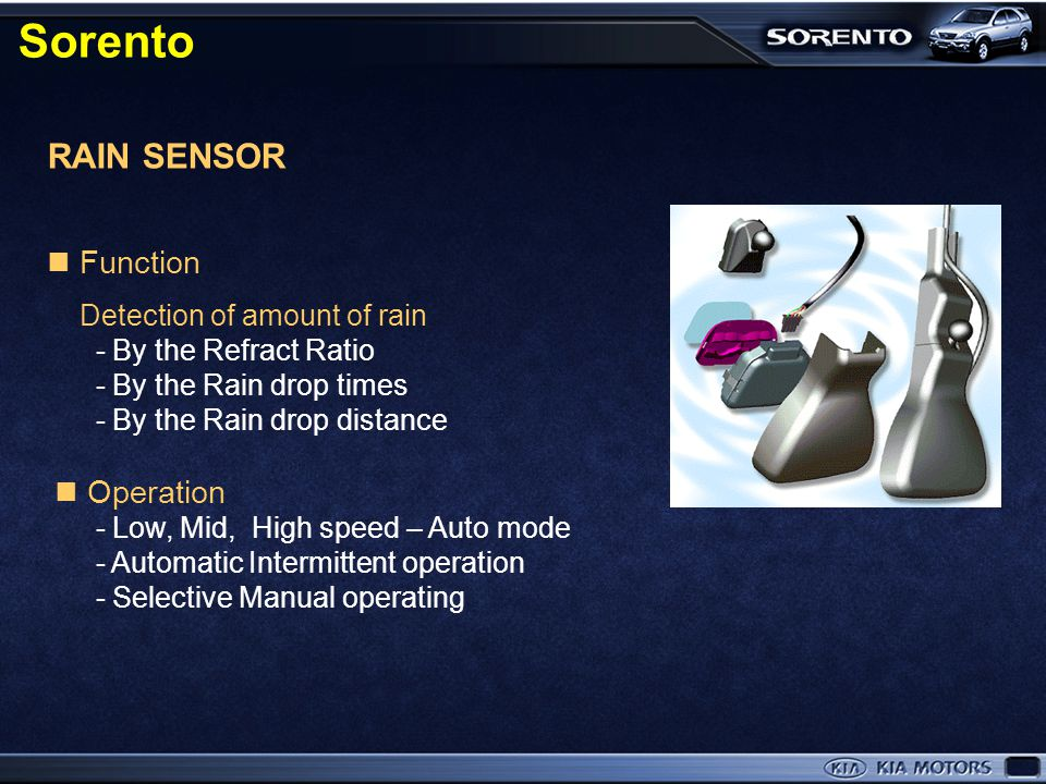 Sorento RAIN SENSOR  Function Detection of amount of rain