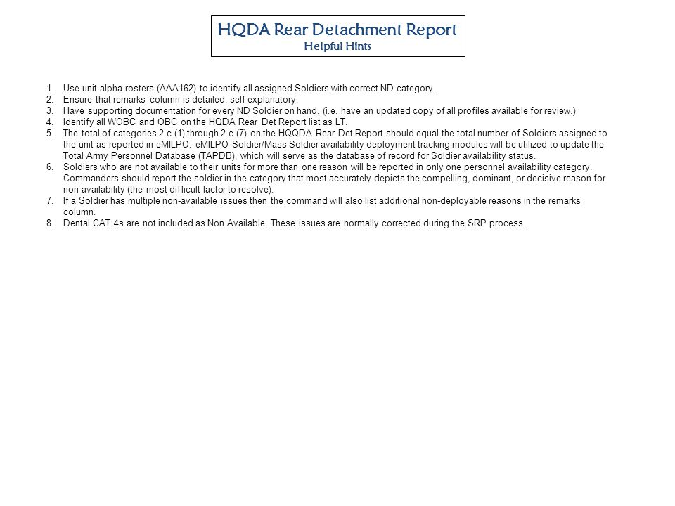 HQDA Rear Detachment Report