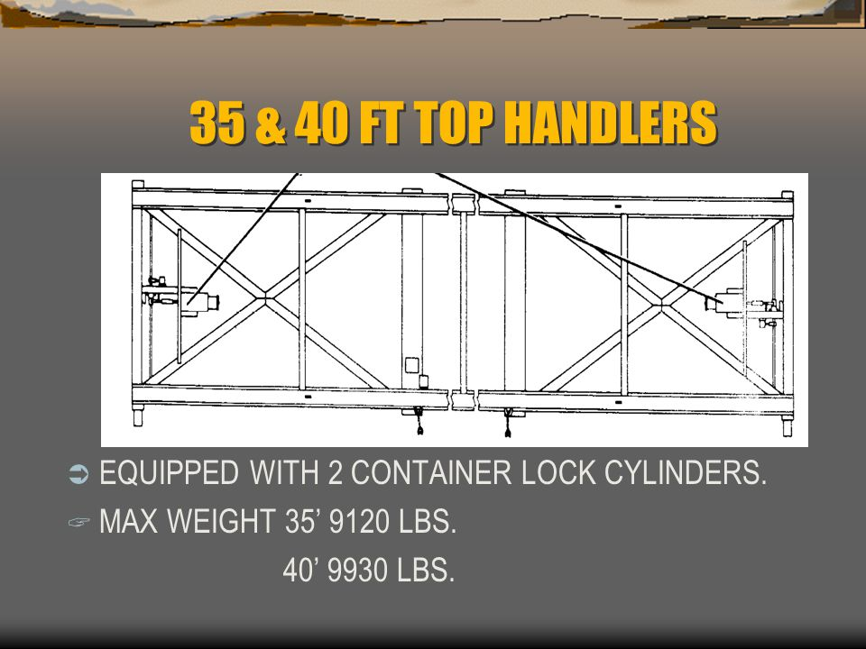 35 & 40 FT TOP HANDLERS EQUIPPED WITH 2 CONTAINER LOCK CYLINDERS.
