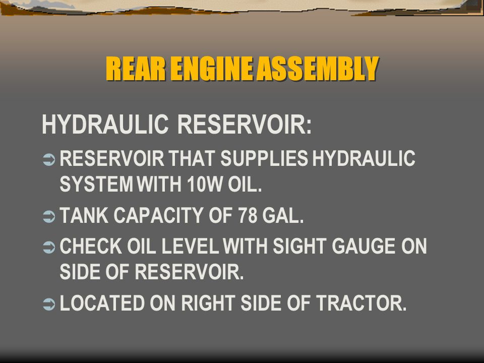 REAR ENGINE ASSEMBLY HYDRAULIC RESERVOIR: