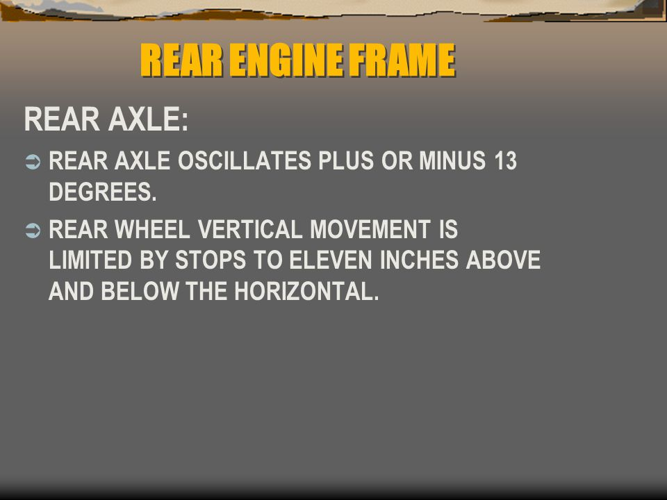 REAR ENGINE FRAME REAR AXLE: