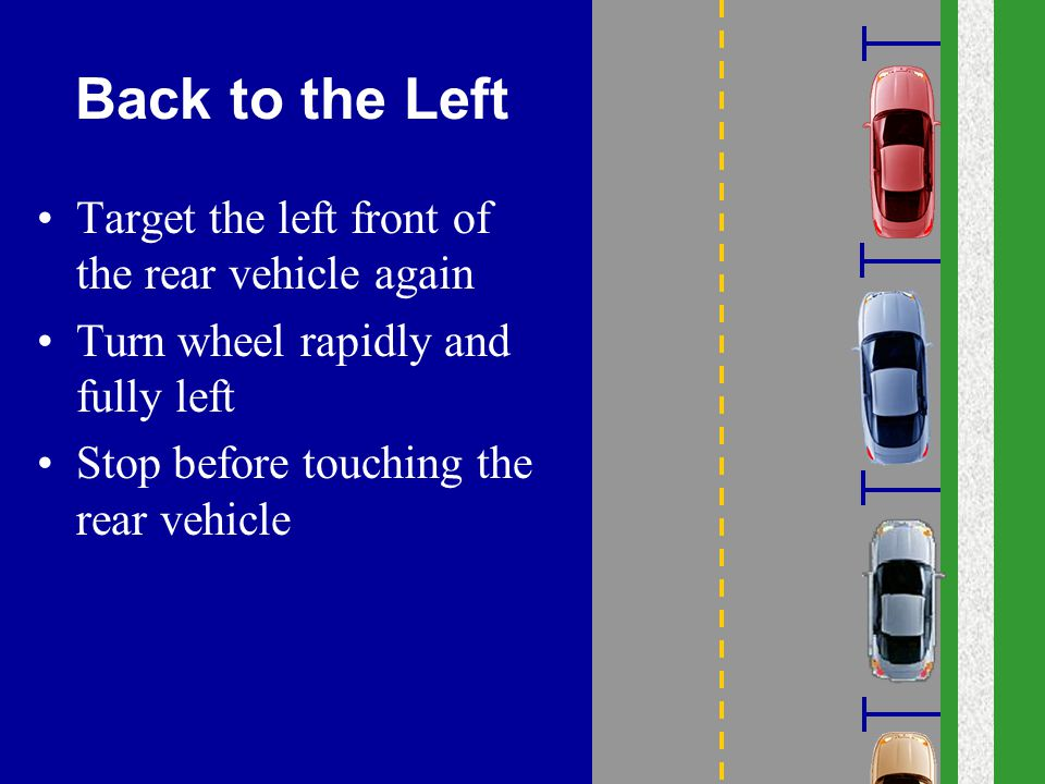 Back to the Left Target the left front of the rear vehicle again