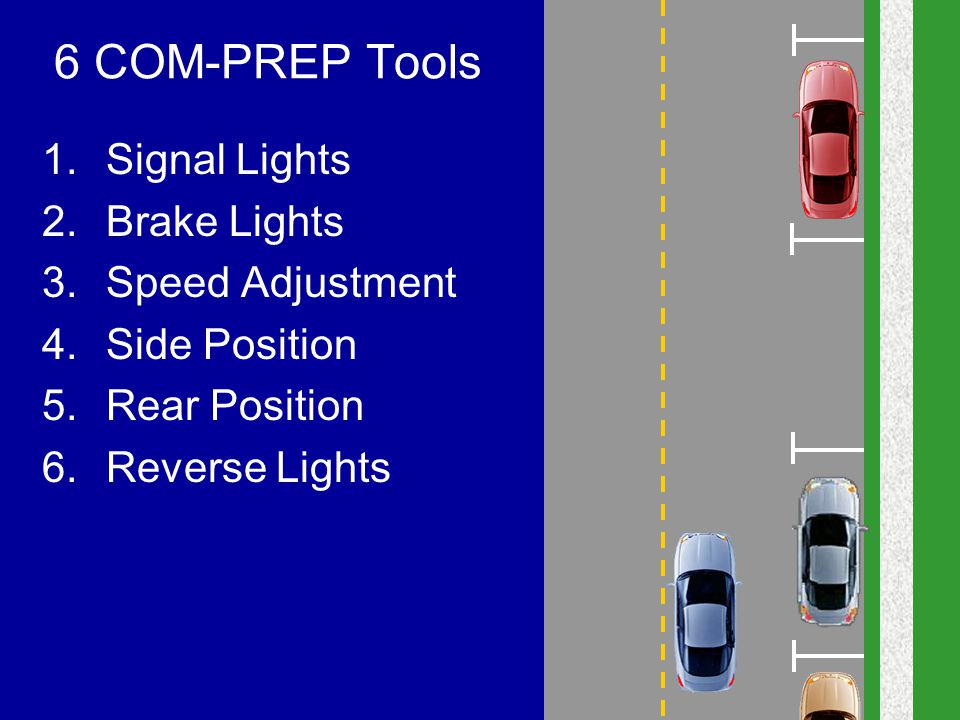 6 COM-PREP Tools Signal Lights Brake Lights Speed Adjustment