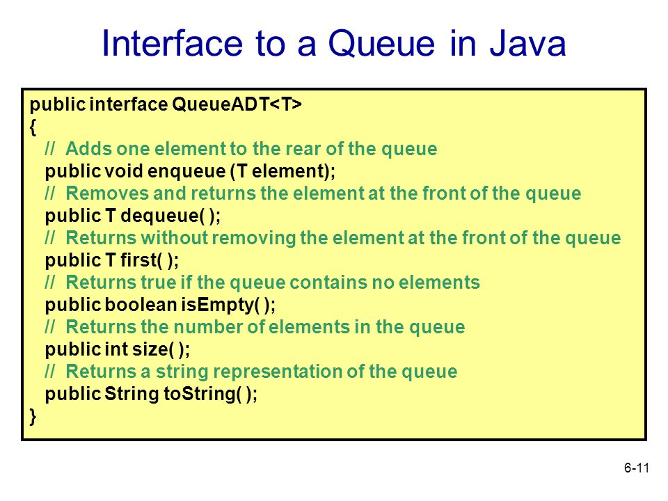 Interface to a Queue in Java