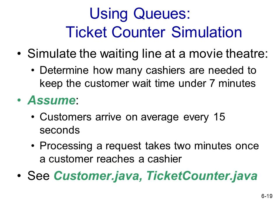 Using Queues: Ticket Counter Simulation