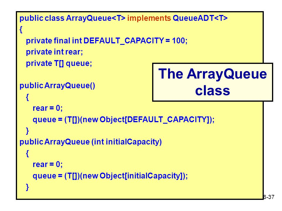 public class ArrayQueue<T> implements QueueADT<T>