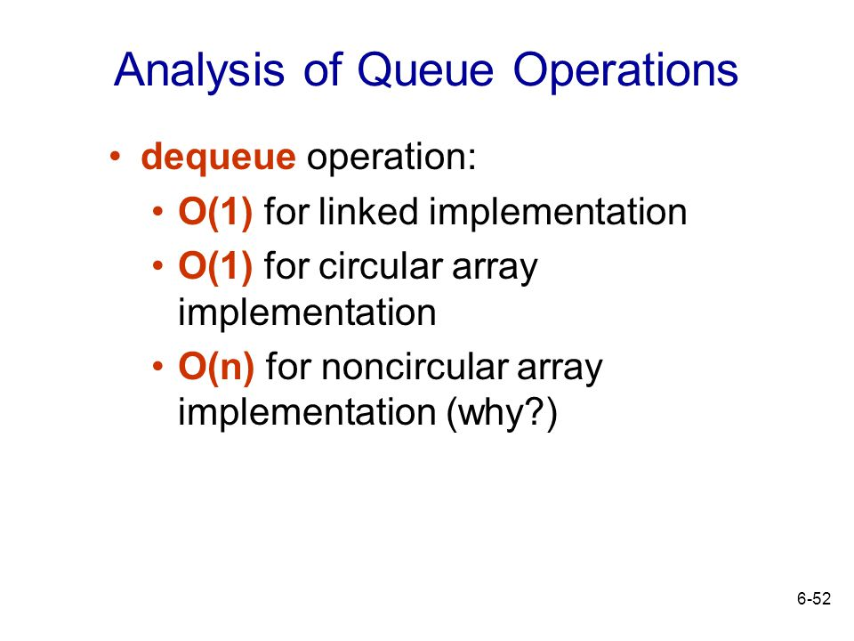 Analysis of Queue Operations