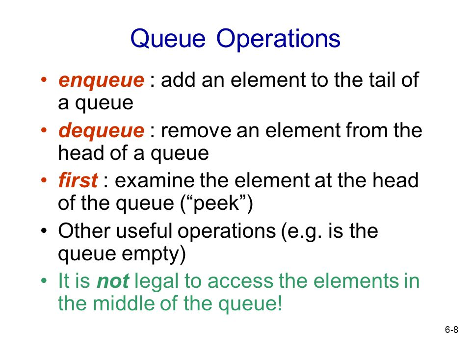 Queue Operations enqueue : add an element to the tail of a queue