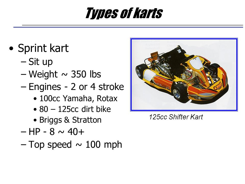 Types of karts Sprint kart Sit up Weight ~ 350 lbs