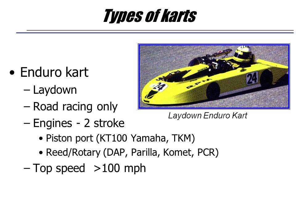 Types of karts Enduro kart Laydown Road racing only Engines - 2 stroke