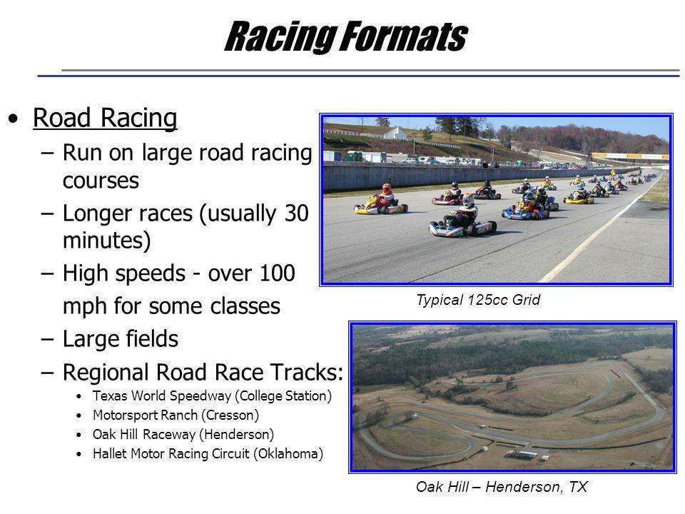 Racing Formats Road Racing Run on large road racing courses