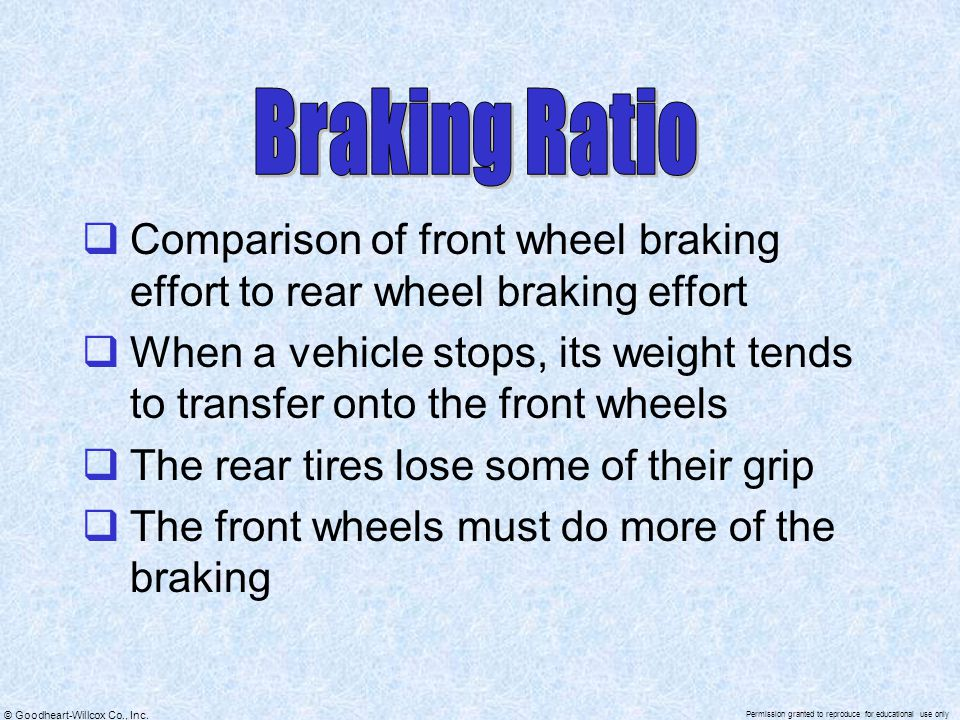 Braking Ratio Comparison of front wheel braking effort to rear wheel braking effort.