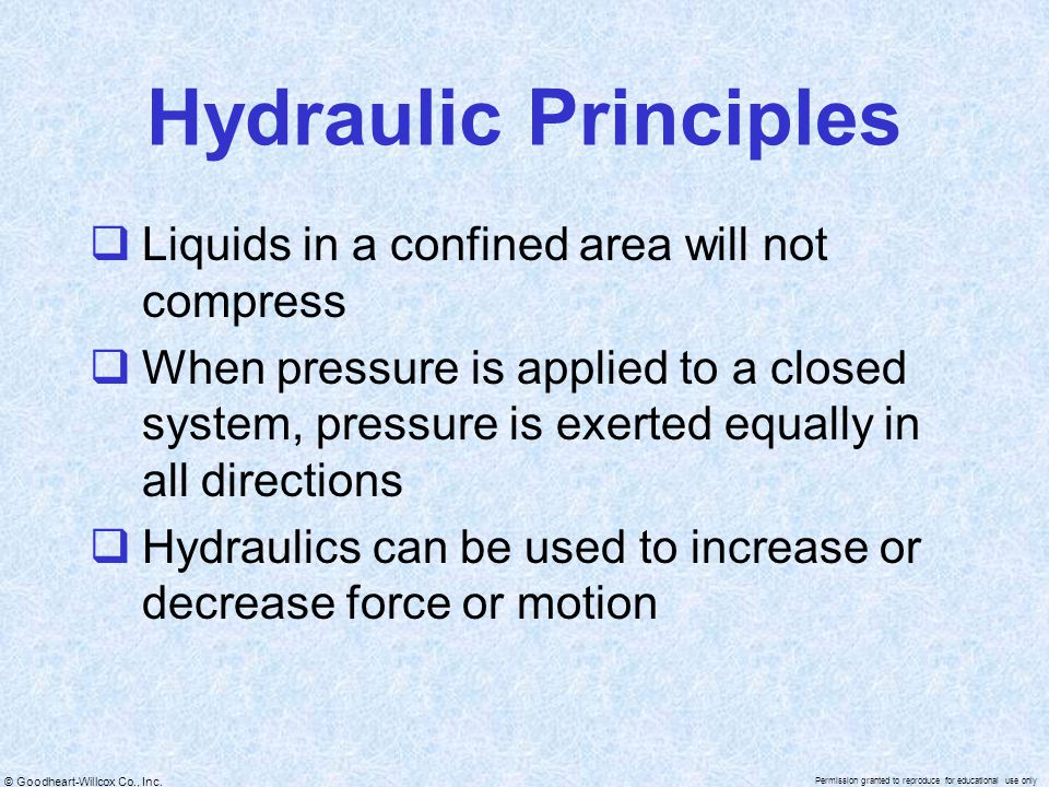 Hydraulic Principles Liquids in a confined area will not compress