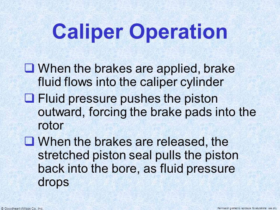 Caliper Operation When the brakes are applied, brake fluid flows into the caliper cylinder.