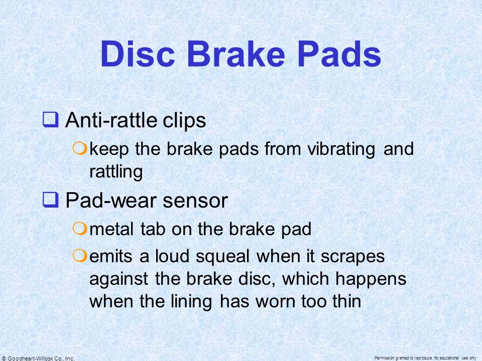 Disc Brake Pads Anti-rattle clips Pad-wear sensor