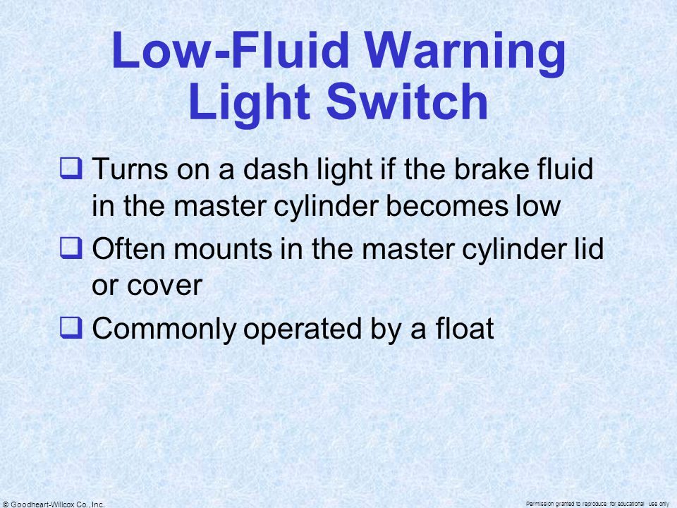 Low-Fluid Warning Light Switch
