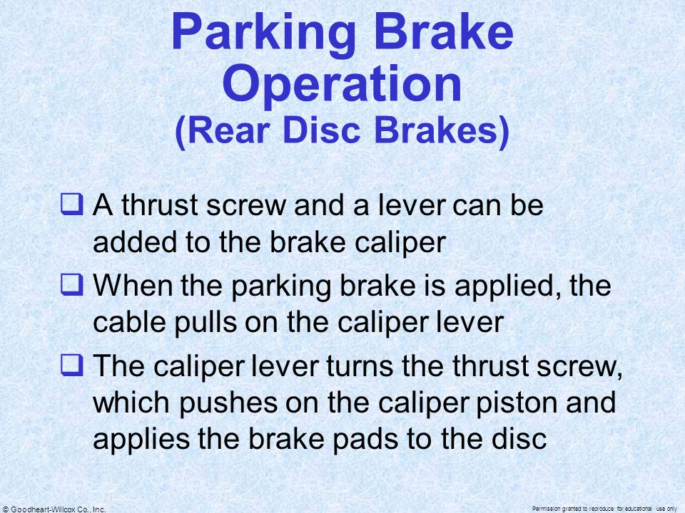 Parking Brake Operation (Rear Disc Brakes)