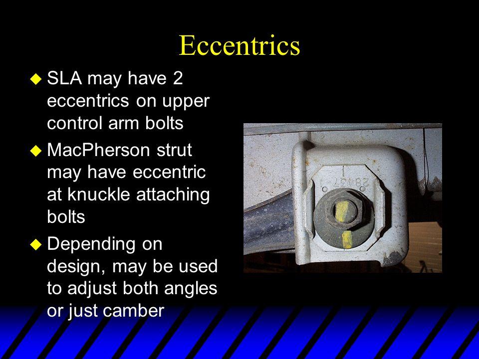 Eccentrics SLA may have 2 eccentrics on upper control arm bolts