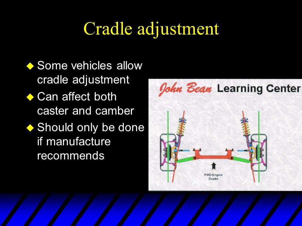 Cradle adjustment Some vehicles allow cradle adjustment